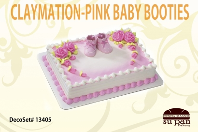 CLAYMATION-PINK BABY BOOTIES