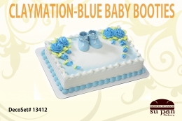 CLAYMATION-BLUE BABY BOOTIES